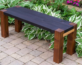 wood bench outdoor patio garden shou sugi ban