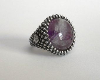 One of a kind handmade sterling silver ring adorned with tiny spheres and a 18mm amethyst