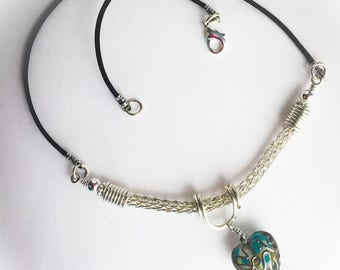 Sterling Silver Viking Knit Necklace with Lampwork Bead Heart