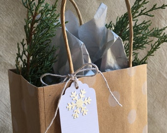 6 Silver Foil Snowflake Gift Tags - Set of 6 - White Cardstock
