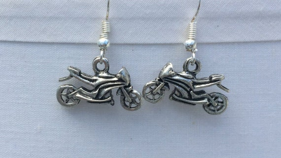 Motorcycle Antique Silver Earrings 3D