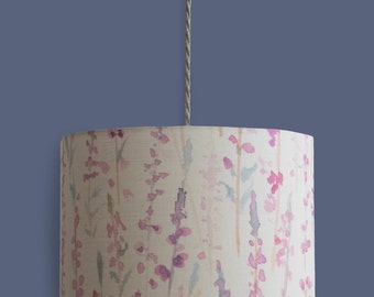 Pink Heather 30cm Drum Lampshade Watercolour Print 50/50% Cotton Linen Ceiling Light Table Lamp Purple, Neutral & Teal Living Room Bedroom