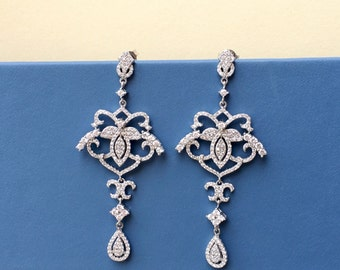Queen Long Dangle Chandelier Sterling Silver Wedding Bridesmaids Zirconia Earrings CZ Crystals