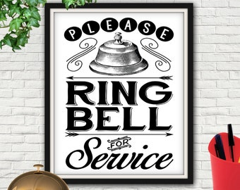 Please Ring Bell For Service, Please Ring Bell, Ring Bell For Service, Desk Bell, Customer Service, Business Sign, Store Sign, Signage, Bell