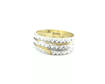 Vintage 14k White and Yellow Gold Diamond Cut Triple Layer Band Ring- Size 5.5