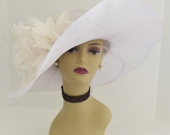 High Quality NEW Kentucky Derby Church Wedding Tea Party Sinamay Feather Flower Wide Brim Dress Hat 508 (White)