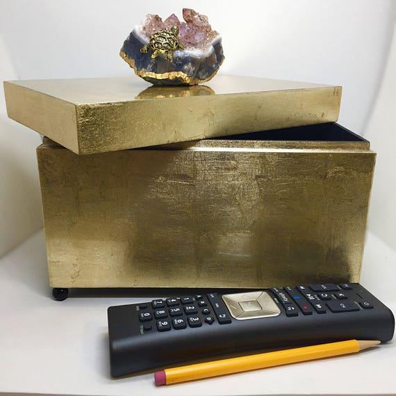 Acrylic Brushed Gold Box, Crystals box,Jewelry Display,Remote box, rhinestone clasp, gold chain, evening bag, Gold Pill Box or Trinket Box