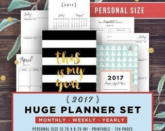 Filofax Personal Inserts, 2017 Planner Set, Printable Monthly Planner, Weekly Planner, Agenda, Yearly, Ring Bound, Black and Gold Cover PDF