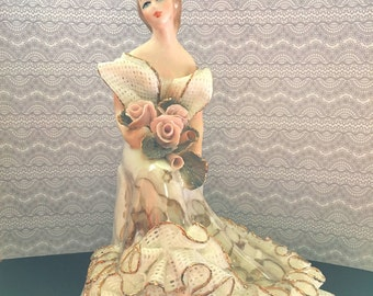 Beautiful Woman with Roses Figurine