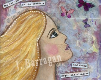 Miracles Everywhere, Butterfly art, Insprational Quote, Mixed Media Collage, Spiritual Gift, Wood Wall Art, Jackie Barragan, Courage & Art
