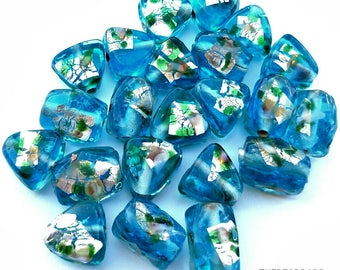 Lampwork silver foiled glass beads, blue colored mixed beads, 22pcs, Triangle & barrel shaped,Art glass beads, Murano beads,Jewelry making,