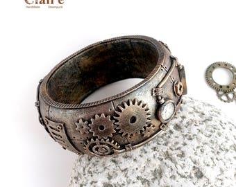 Steampunk Bracelet. Steampunk Jewelry. Neo Victorian Jewelry. Industial. Gears. Vintage Steampunk Design. Dieselpunk. Steampunk Gift. Cogs