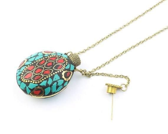 Ooty Necklace, Turquoise Mosiac Poison Necklace, Secret Compartment, Perfume, Eyeliner Bottle, Tribal, Ethnic, Festival, Boho, Gypsy, Hippie