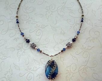 Handmade Lampwork Glass Beaded Necklace, Blue Focal Bead, Jewelry