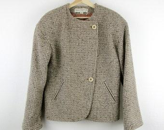 Vintage 80s Bert Newman Tweed Wool Jacket / Cropped Boxy Asymmetrical Coat Gray Brown / Medium M 8