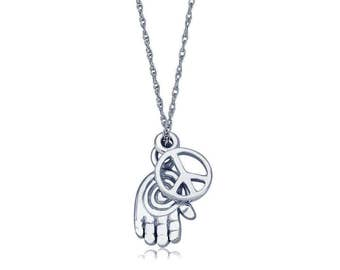 """Genuine Diamond Hamsa and Peace Sign Charms (2) Pendant 16"""" White Gold Plated"""