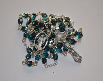 Rosary, Burgundy-Blue/Green Swarovski Crystal Rosary, made with Pewter, and Silver