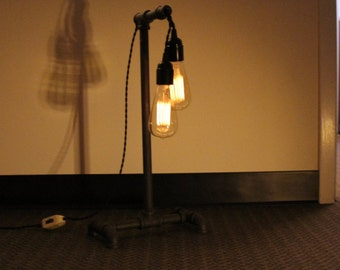 iron pipe edison bulb desk lamp