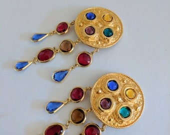 Vintage Escada Clip on Colourful Drop Down Earrings, Gold. Gifts for her // Jewellery // Christmas // Stocking Filler // ES028