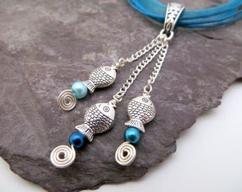 Tropical Jewelry, Fish necklace, Beach jewellery, Festival jewellery, Boho necklace, Turquoise necklace, blue tassel choker necklace, pisces
