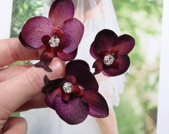 eggplant wedding, flowers for hair, eggplant hair accessories, orchid hair clip, maroon flower, rhinestone hair pins, dark purple flowers