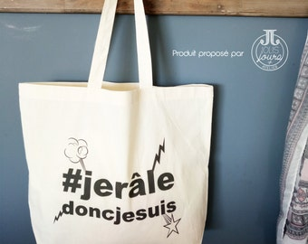 "Cotton Tote Bag XL hashtag ""I rattle so I am"" Collection"