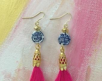 HOT PINK Tassel Earrings | chinoiserie, blue and white, royal blue, porcelain, Asian, delft, navy, white, gold