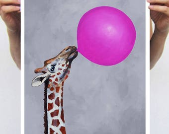 Funny Giraffe Print, Giraffe print from my original painting, giraffe decor, Giraffes with bubblegum,original creation by Coco de Paris