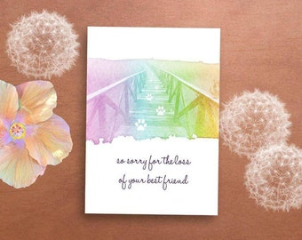 Pet Loss Printable Card - Rainbow Bridge, Dog Loss, Sympathy Card, Pet Condolences, Pet Memorial, Pet Sympathy Gift, Loss of Cat