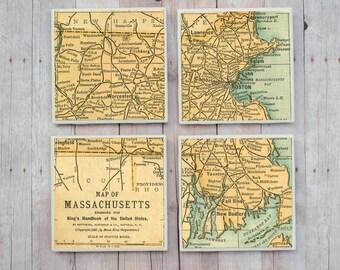 Boston / Boston Map Coasters / Massachusetts Map Coasters / Boston Massachusetts / Boston Coasters / Massachusetts Coasters / Boston Gift