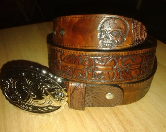"Tooled leather belt ""Rez Life"" feather bear and skull"