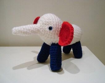 Elephant, Amigurumi Elephant, Crochet handmade, Red White & Blue, Soft toy