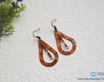 flame colored copper patina earrings, dangle orange earrings