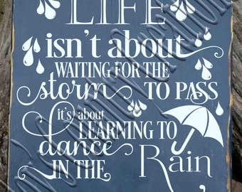 Life isn't about waiting for the storm to pass  SVG, PNG, JPEG