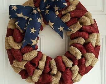 Patriotic wreath summer burlap wreath Independence day wreath primitive wreath 4th of july rustic wreath military wreath army navy marine