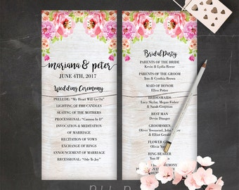 Floral Wedding Program Template Download Pink Wedding Program Boho Wedding Ceremony Program Peony Wedding Program Bohemian Wedding Program