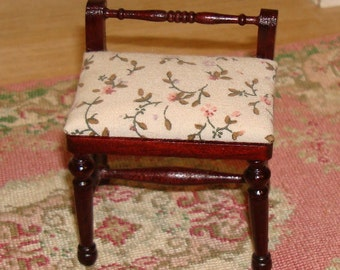 Vintage Miniature Dollhouse Vanity Chair!  Dark Cherry Stained Wood with a Cushioned Seat!  Scale 1:12  Like-New Condition!