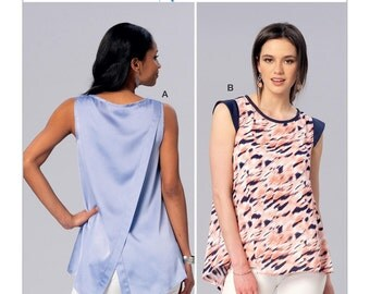 Sewing Pattern for Misses' Sleeveless or Cap Sleeve Tulip-Back Tops, Kwik Sew 4175, Spring-Summer Top, Womens Sew Pattern, Tunic Top