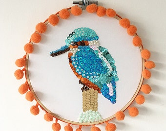 Kingfisher Embroidery Hoop Wall Art - British Garden Bird - Embellished Sequin Art - Mothers Day Gift - Nature - Wall Hanging