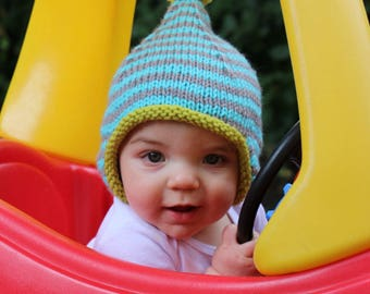 Boy Earflap Hat, Striped Baby Hat, Knit Infant Hat, Fall Newborn Outfit, Winter Baby Boy Cap, Boy Baby Shower Gift, Boy Coming Home Outfit