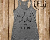 CAFFEINE (chemical structure): Tank in Heather Grey/Black Ink, Triblend Workout Tank, Yoga, Holy Yoga, Crossfit, Funny, Coffee, Activewear