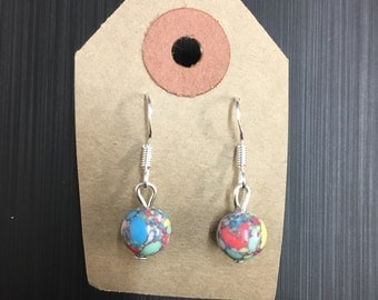 Multicoloured Marbled Glass Bead Earrings with Sterling Silver Hooks