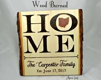 Wood Burned, Home Sign Personalized, State Sign, Family Established Sign, Wood Burned Sign, Rustic Decor, Wood Signs, Wall Art, Custom Name