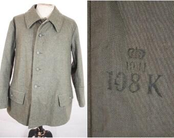 "WW2 Swedish M59 Grey Wool Four Pocket Tunic Jacket Dated 1941 Size 108 42"""