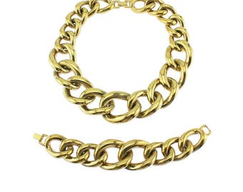 Givenchy Chunky Gold Collar Necklace and Bracelet, Givenchy Gold Necklace, Givenchy Gold Bracelet,  Vintage Givenchy Necklace