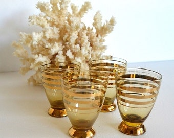 vintage set of four shot glasses barware gold brown striped shot glasses