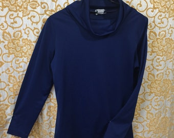 70s Joanna Slouchy Turtle Neck Shirt Navy Blue Pullover Silky Top
