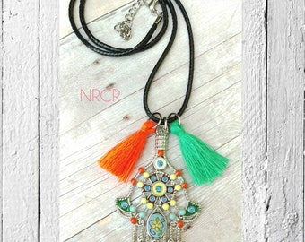 Colorful Hamsa. Necklace. Black leather Cording.  Beautiful L. Ornate. Enamel. Tassels. Ready to gift.