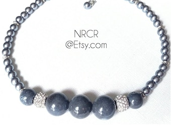 Elegant Grey Bauble Necklace.  Glass Pearls.  Ceramic Beads.