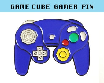 GAMECUBE CONTROLLER Enamel Lapel Pin - Nintendo badge pins brooch boyfriend denim gift fanart nerd gaming player switch retro gaymer geek